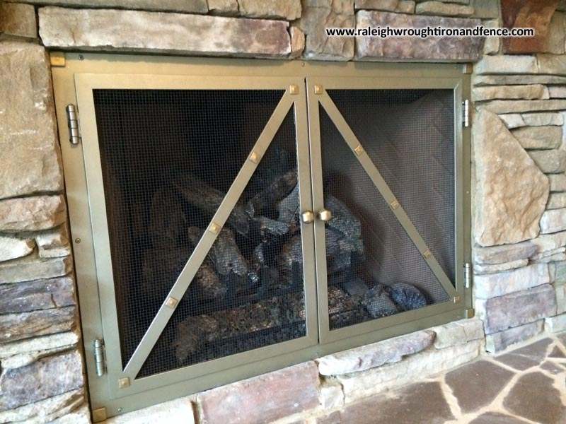 Custom Made Iron Firepit And Fireplace Screen Doors